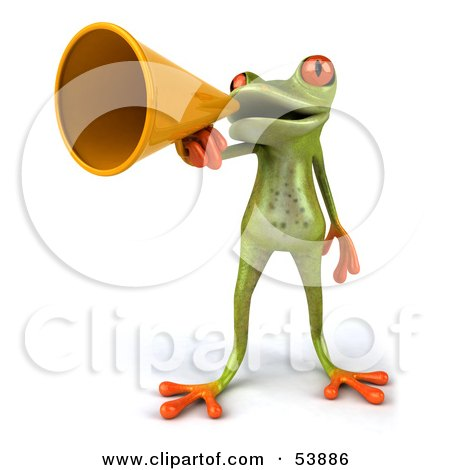 Royalty-Free (RF) Clipart Illustration of a Cute 3d Green Tree Frog Speaking Through A Megaphone - Pose 1 by Julos