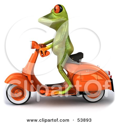 Royalty-Free (RF) Clipart Illustration of a Cute 3d Green Tree Frog Riding An Orange Scooter To The Left by Julos