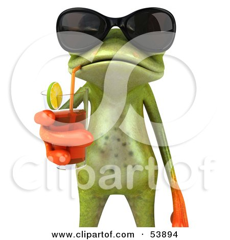 Royalty-Free (RF) Clipart Illustration of a Cute 3d Green Tree Frog Sipping A Drink And Wearing Shades - Pose 2 by Julos