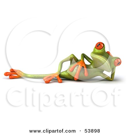 Royalty-Free (RF) Clipart Illustration of a Cute 3d Green Tree Frog Relaxed And Reclined by Julos