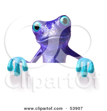 Royalty-Free (RF) Clipart Illustration of a Cute 3d Purple Tree Frog Waving And Holding A Sign by Julos