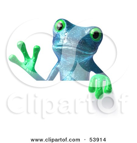 Royalty-Free (RF) Clipart Illustration of a Cute 3d Blue Tree Frog Waving And Holding A Sign by Julos
