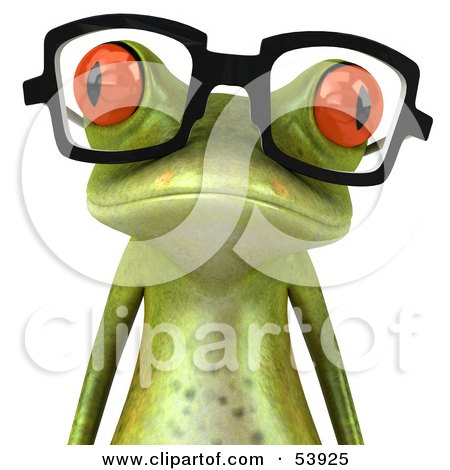 Royalty-Free (RF) Clipart Illustration of a Cute 3d Green Tree Frog Wearing Spectacles - Version 4 by Julos