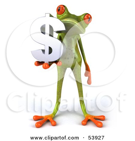 Royalty-Free (RF) Clipart Illustration of a Cute 3d Green Tree Frog Holding A Silver Dollar Symbol - Pose 1 by Julos