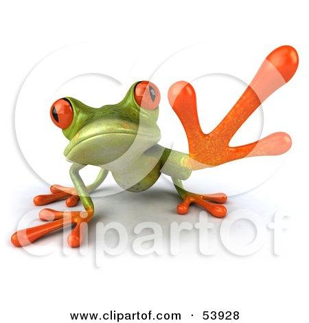 Cute 3d Green Tree Frog Reaching - Pose 1 Posters, Art Prints