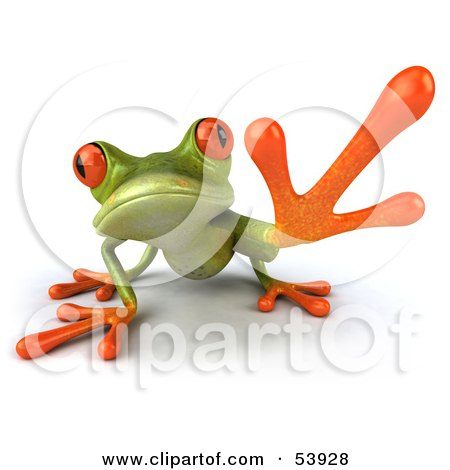 Royalty-Free (RF) Clipart Illustration of a Cute 3d Green Tree Frog Reaching - Pose 1 by Julos