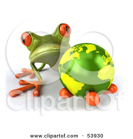 Royalty-Free (RF) Clipart Illustration of a Cute 3d Green Tree Frog Holding The Planet - Pose 1 by Julos