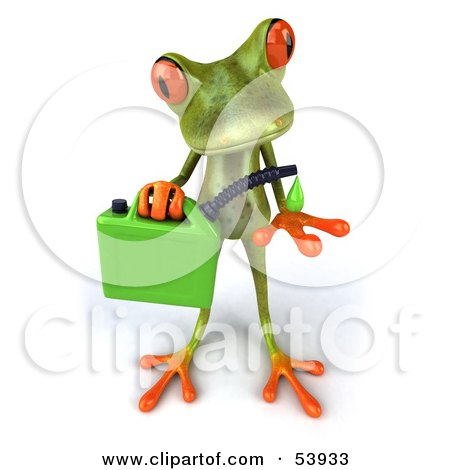 Royalty-Free (RF) Clipart Illustration of a Cute 3d Green Tree Frog Holding A Gas Can Of Bio Fuel - Pose 1 by Julos