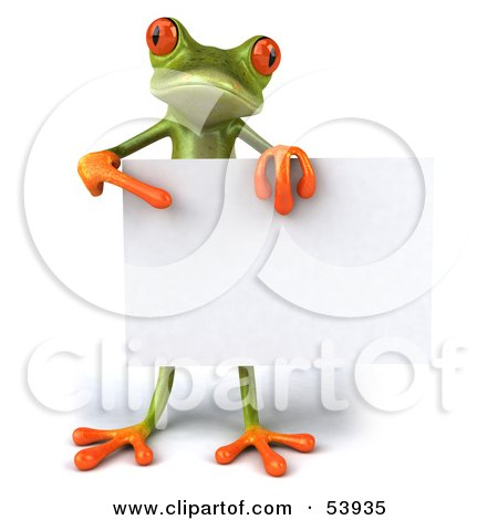 Royalty-Free (RF) Clipart Illustration of a Cute 3d Green Tree Frog Standing Behind A Blank Sign And Pointing To It by Julos