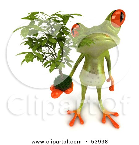 Royalty-Free (RF) Clipart Illustration of a Cute 3d Green Tree Frog Holding A Plant - Pose 2 by Julos