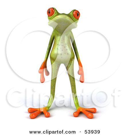 Royalty-Free (RF) Clipart Illustration of a Cute 3d Skinny Green Tree Frog Standing And Facing Front by Julos