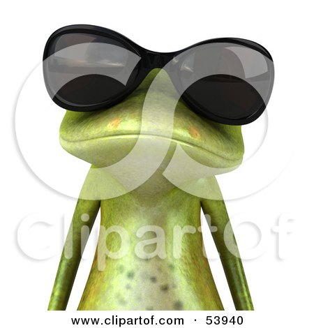 Royalty-Free (RF) Clipart Illustration of a Cute 3d Green Tree Frog Wearing Shades - Pose 1 by Julos