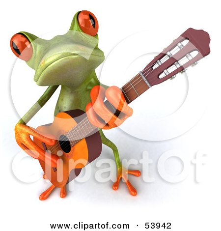 Royalty-Free (RF) Clipart Illustration of a Cute 3d Green Tree Frog Guitarist Playing Music - Pose 3 by Julos