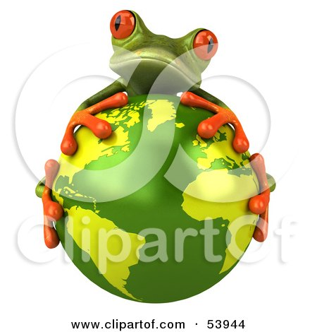Royalty-Free (RF) Clipart Illustration of a Cute 3d Green Tree Frog Hugging The Planet - Pose 1 by Julos