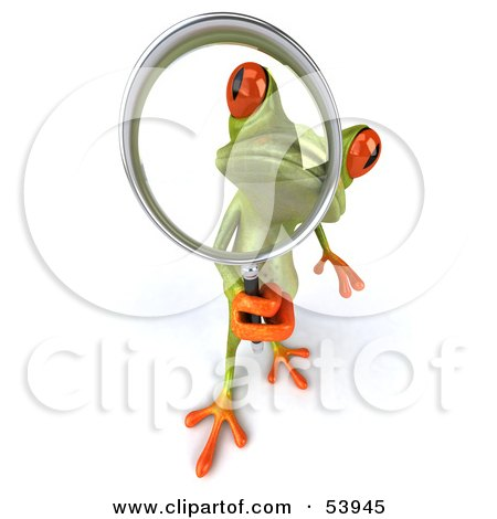 Royalty-Free (RF) Clipart Illustration of a Cute 3d Green Tree Frog Using A Magnifying Glass - Pose 3 by Julos