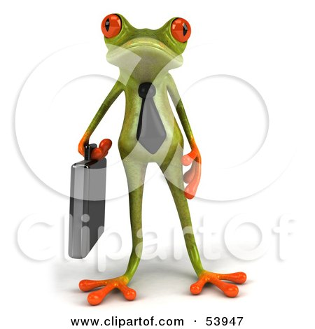 Royalty-Free (RF) Clipart Illustration of a Cute 3d Green Tree Frog Business Man Carrying A Briefcase - Pose 1 by Julos