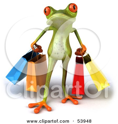 Royalty-Free (RF) Clipart Illustration of a Cute 3d Green Tree Frog Carrying Shopping Bags - Pose 1 by Julos