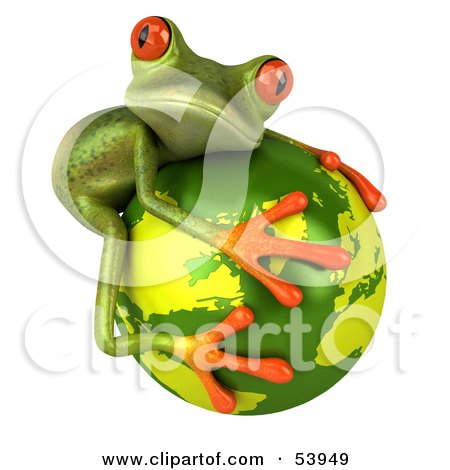 Cute 3d Green Tree Frog Hugging The Planet - Pose 2 Posters, Art Prints