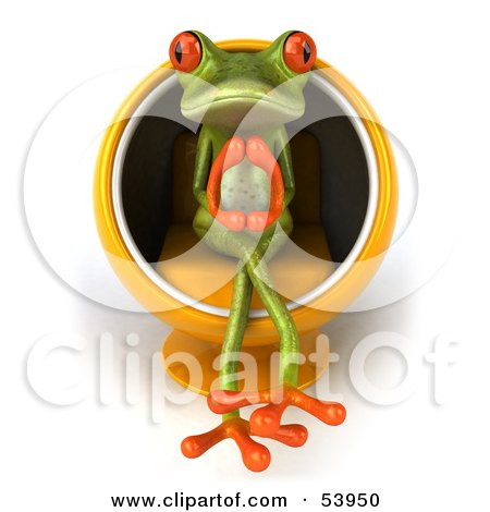 Royalty-Free (RF) Clipart Illustration of a Cute 3d Green Tree Frog Thinking In A Cocoon Chair - Version 1 by Julos