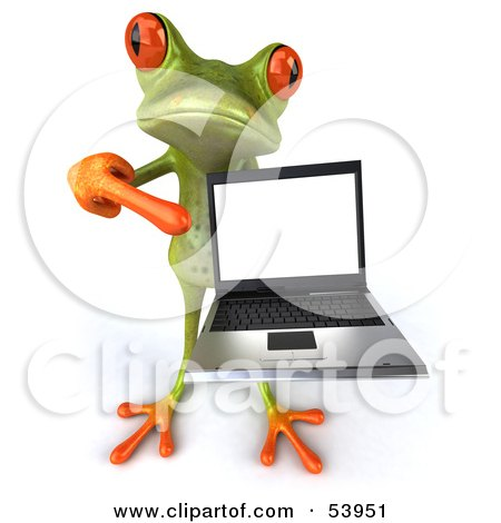 Cute 3d Green Tree Frog Presenting A Laptop - Pose 4 Posters, Art Prints