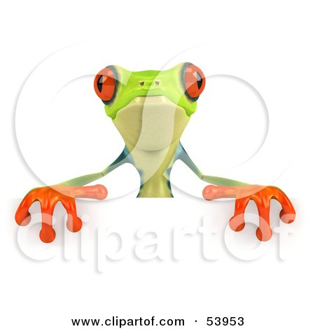 Royalty-Free (RF) Clipart Illustration of a Cute 3d Green Poison Dart Frog Standing Behind A Blank Sign - Pose 2 by Julos