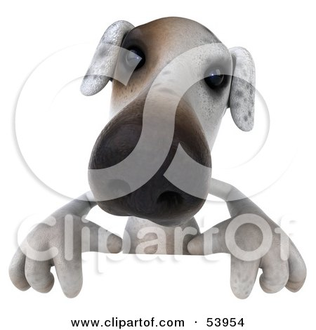 Royalty-Free (RF) Clipart Illustration of a 3d Jack Russell Terrier Pooch Character Standing Behind A Sign by Julos