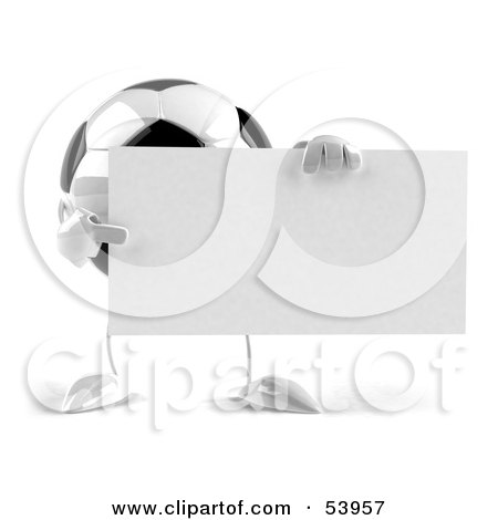 Royalty-Free (RF) Clipart Illustration of a 3d Soccer Ball With Arms And Legs, Holding A Blank Sign - Version 2 by Julos