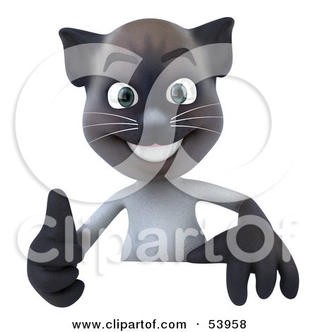 Royalty-Free (RF) Clipart Illustration of a 3d Siamese Pussy Cat Character Giving The Thumbs Up And Standing Behind A Blank Sign by Julos