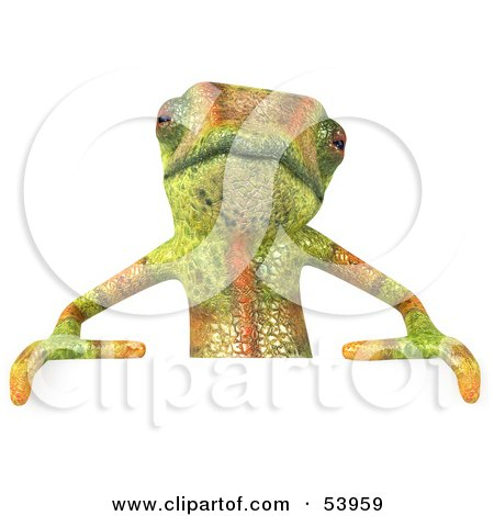 Royalty-Free (RF) Clipart Illustration of a 3d Chameleon Lizard Character Standing Behind A Blank Sign by Julos