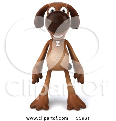 Royalty-Free (RF) Clipart Illustration of a 3d Brown Pooch Character Standing And Facing Front by Julos
