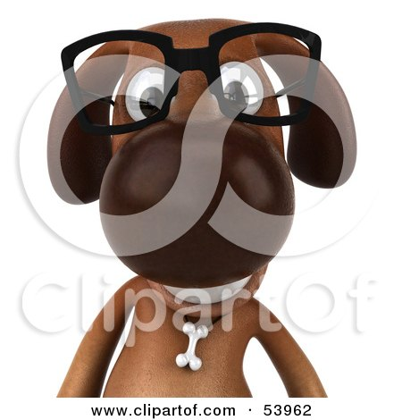 Royalty-Free (RF) Clipart Illustration of a 3d Brown Pooch Character Wearing Spectacles - Pose 1 by Julos