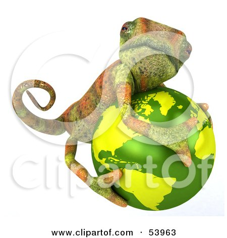 Royalty-Free (RF) Clipart Illustration of a 3d Chameleon Lizard Character Hugging A Globe by Julos