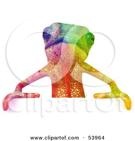 Royalty-Free (RF) Clipart Illustration of a 3d Rainbow Chameleon Lizard Character Standing Behind A Blank Sign by Julos