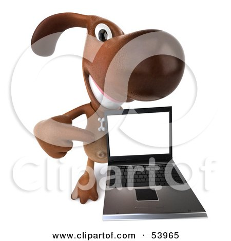 Royalty-Free (RF) Clipart Illustration of a 3d Brown Pooch Character With A Laptop - Pose 4 by Julos