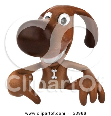 Royalty-Free (RF) Clipart Illustration of a 3d Brown Pooch Character Pointing Down At And Standing Behind A Blank Sign by Julos