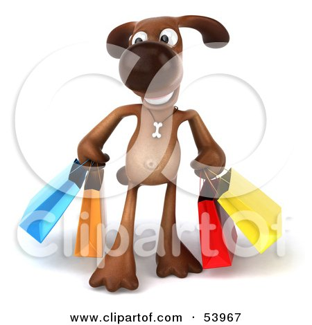 Royalty-Free (RF) Clipart Illustration of a 3d Brown Pooch Character Carrying Shopping Bags - Version 1 by Julos