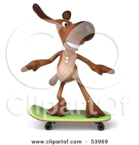 Royalty-Free (RF) Clipart Illustration of a 3d Brown Pooch Character Skateboarding - Pose 1 by Julos