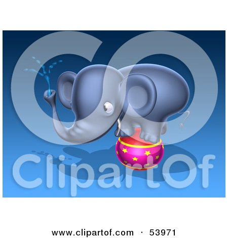 Royalty-Free (RF) Clipart Illustration of a 3d Blue Elephant Character Standing On A Circus Ball And Spraying Water - Pose 2 by Julos