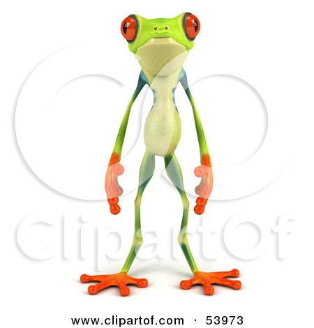 Royalty-Free (RF) Clipart Illustration of a Cute 3d Green Poison Dart Frog Standing And Facing Front by Julos
