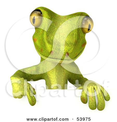 Royalty-Free (RF) Clipart Illustration of a 3d Gecko Character Pointing Down At And Standing Behind A Blank Sign - Pose 1 by Julos