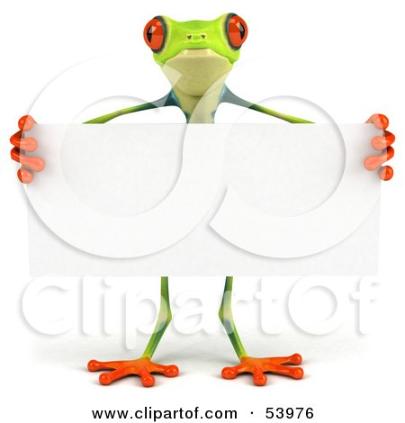 Royalty-Free (RF) Clipart Illustration of a Cute 3d Green Poison Dart Frog Standing Behind A Blank Sign - Pose 1 by Julos