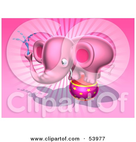 Royalty-Free (RF) Clipart Illustration of a 3d Pink Elephant Character Standing On A Circus Ball And Spraying Water - Pose 4 by Julos