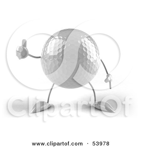Royalty-Free (RF) Clipart Illustration of a 3d Golf Ball With Arms And Legs, Giving The Thumbs Up - Version 2 by Julos