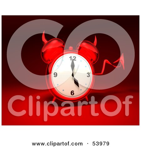Royalty-Free (RF) Clipart Illustration of a 3d Red Devil Alarm Clock With A Forked Tail - Version 11 by Julos