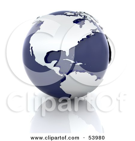 Royalty-Free (RF) Clipart Illustration of Silver Continents On A Dark Blue Globe, Over A Reflective Surface by KJ Pargeter