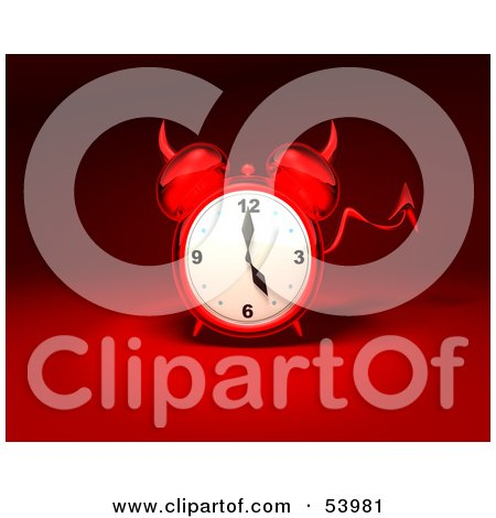 Royalty-Free (RF) Clipart Illustration of a 3d Red Devil Alarm Clock With A Forked Tail - Version 10 by Julos
