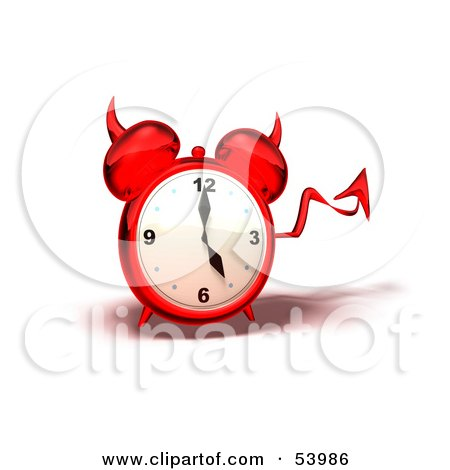 Royalty-Free (RF) Clipart Illustration of a 3d Red Devil Alarm Clock With A Forked Tail - Version 4 by Julos