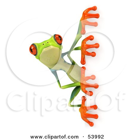 Royalty-Free (RF) Clipart Illustration of a Cute 3d Green Poison Dart Frog Looking Around A Blank Sign - Pose 1 by Julos