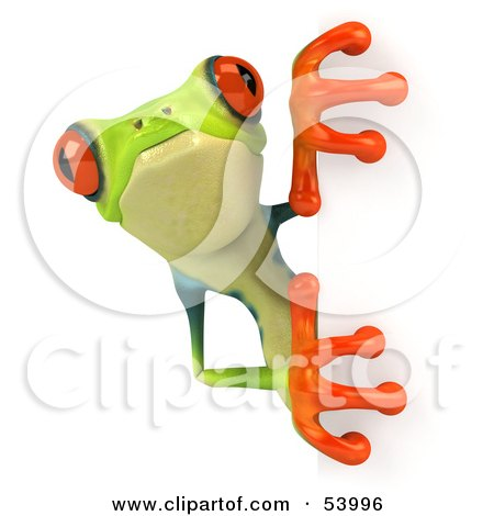 Royalty-Free (RF) Clipart Illustration of a Cute 3d Green Poison Dart Frog Looking Around A Blank Sign - Pose 3 by Julos