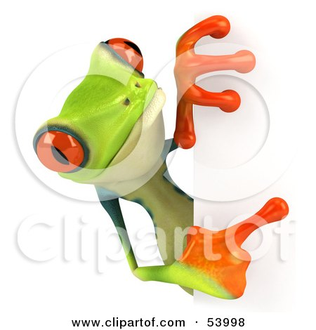 Royalty-Free (RF) Clipart Illustration of a Cute 3d Green Poison Dart Frog Looking Around A Blank Sign - Pose 4 by Julos